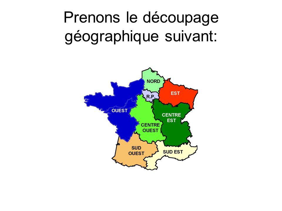 Prenons le découpage géographique suivant:
