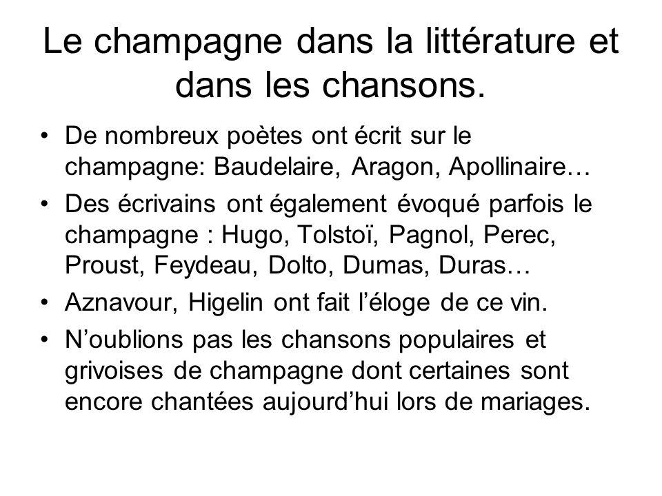 Le champagne dans la littérature et dans les chansons.