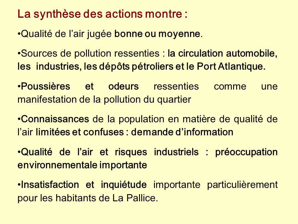 La synthèse des actions montre :