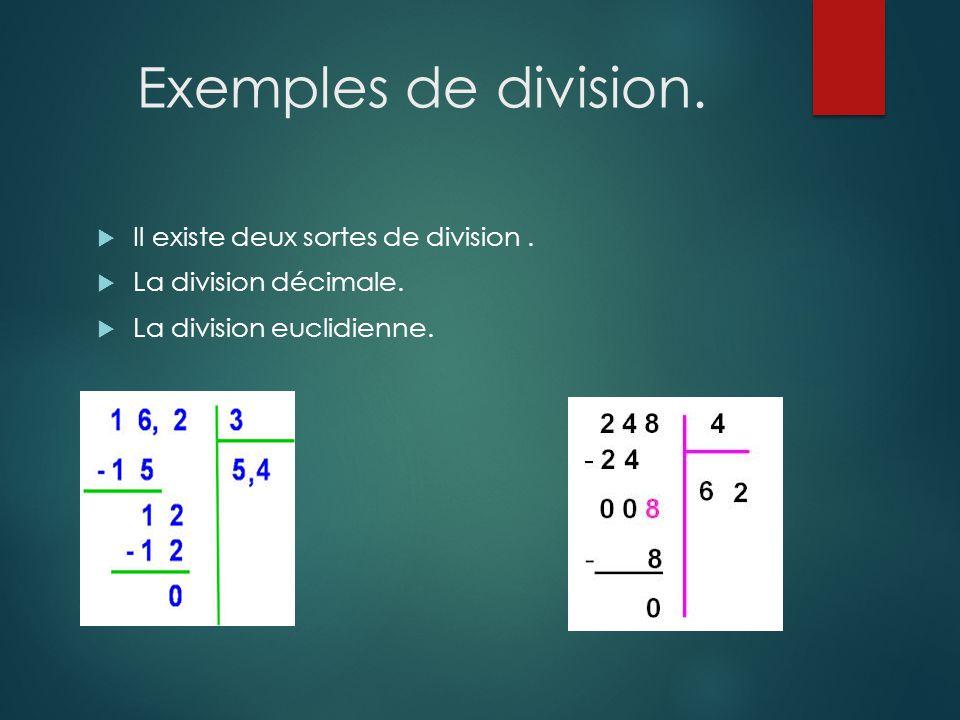 Exemples de division. Il existe deux sortes de division .