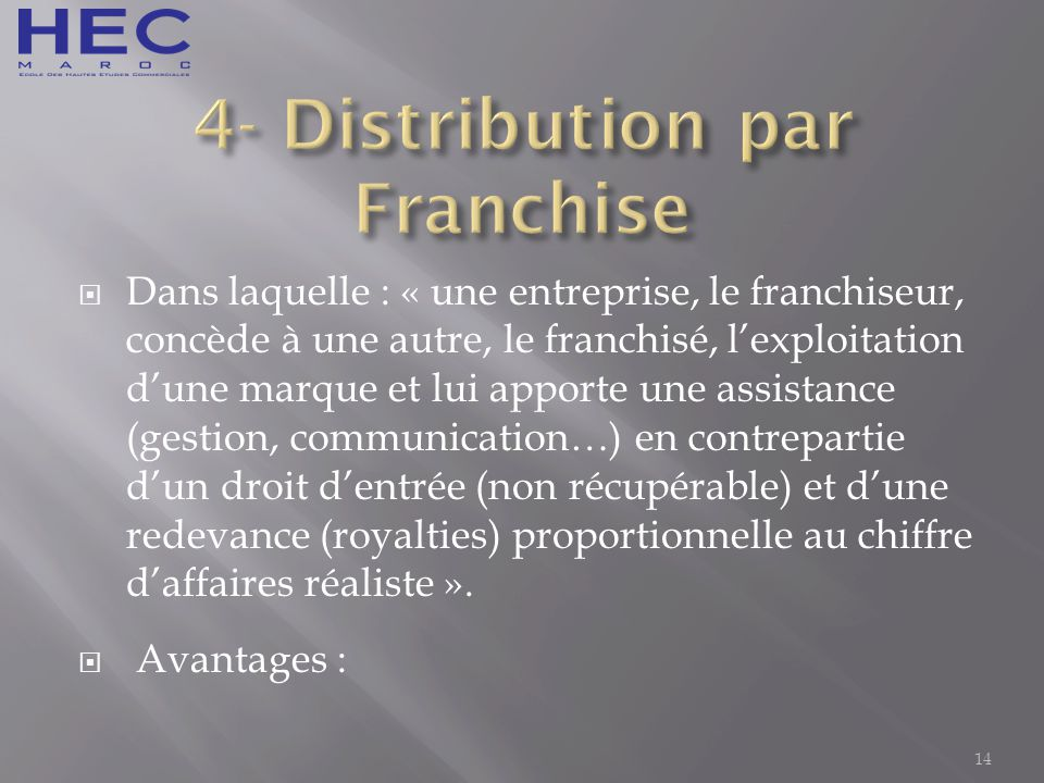 4- Distribution par Franchise