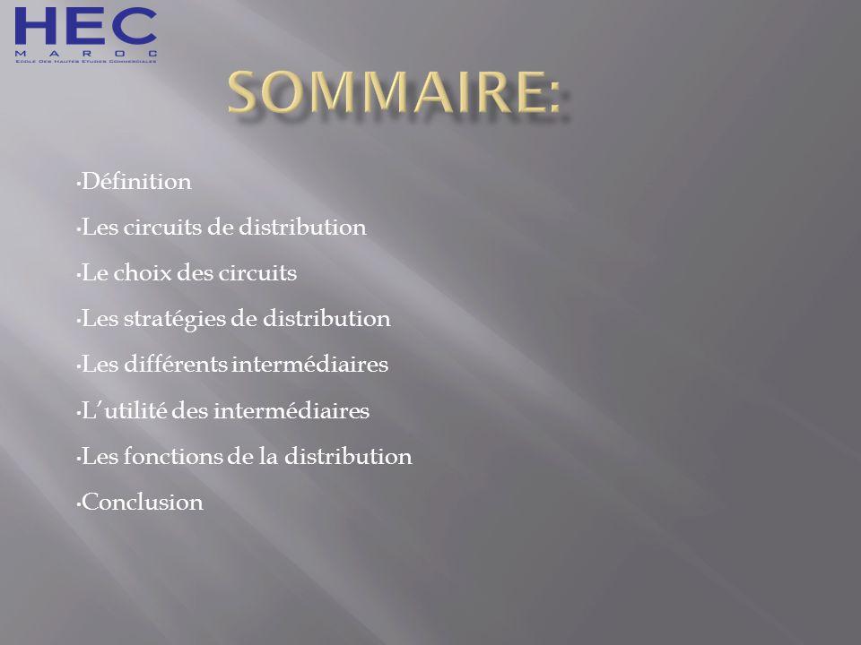Sommaire: Définition Les circuits de distribution