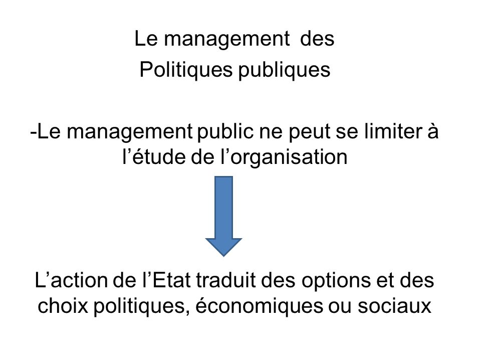Le management public ne peut se limiter à l'étude de l'organisation