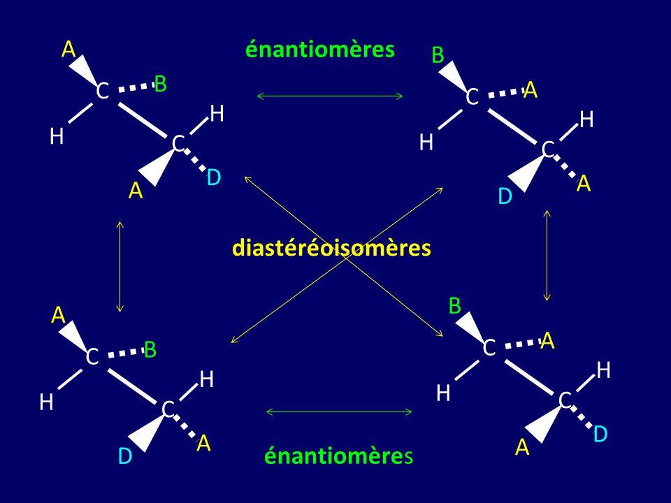 B H A C D énantiomères A H B C D diastéréoisomères A H B C D B H A C D énantiomères