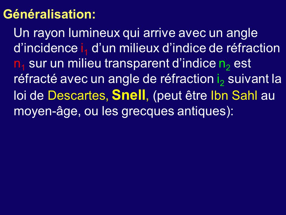 Généralisation: