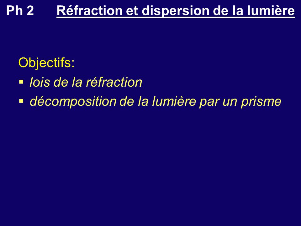 Ph 2 Réfraction et dispersion de la lumière