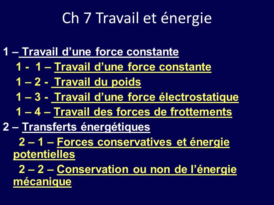 Ch 7 Travail et énergie 1 – Travail d'une force constante