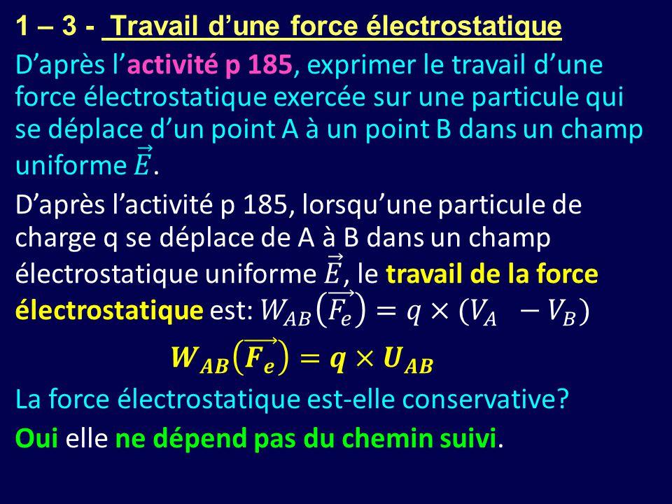La force électrostatique est-elle conservative