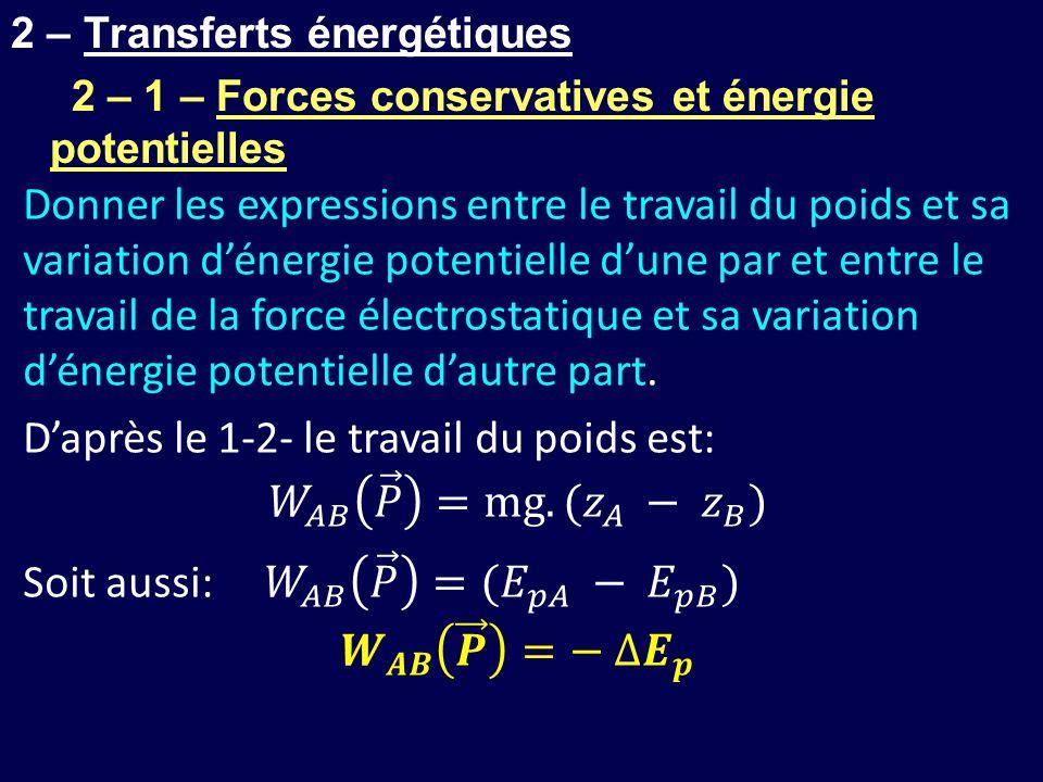 2 – Transferts énergétiques