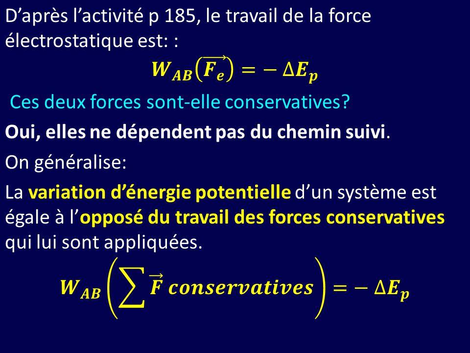 D'après l'activité p 185, le travail de la force électrostatique est: : 𝑾 𝑨𝑩 𝑭 𝒆 =− ∆ 𝑬 𝒑 Ces deux forces sont-elle conservatives.