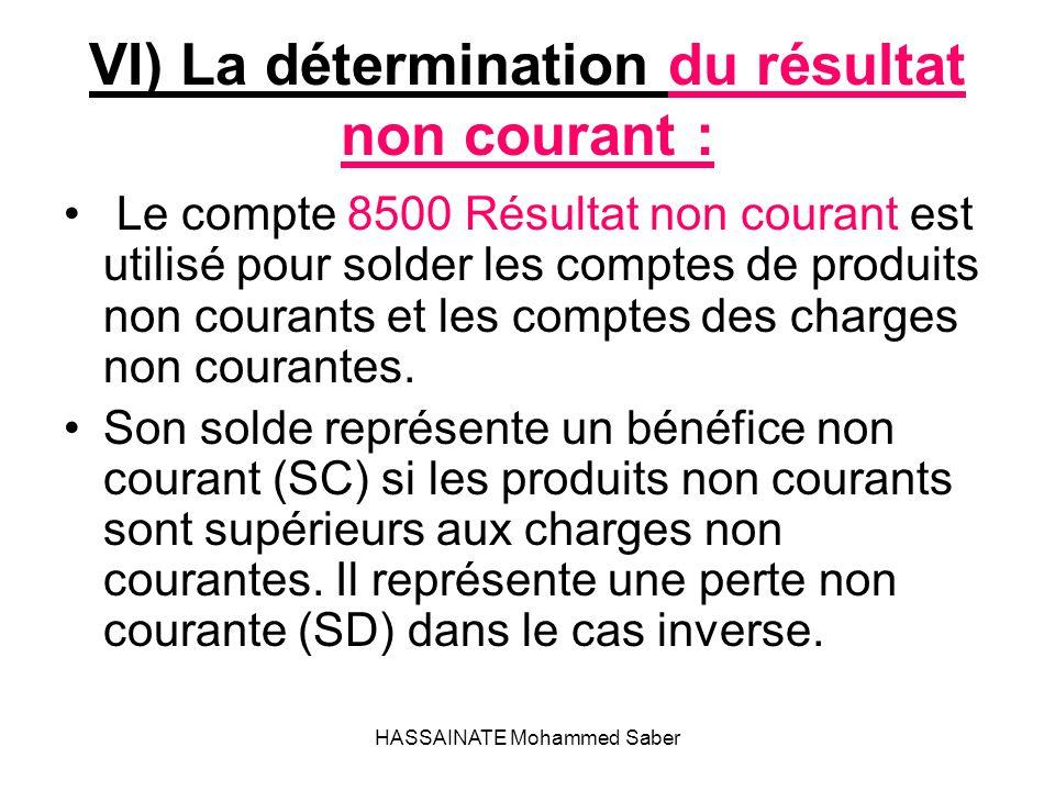 VI) La détermination du résultat non courant :