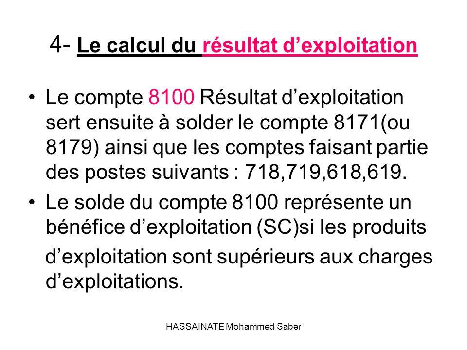 4- Le calcul du résultat d'exploitation