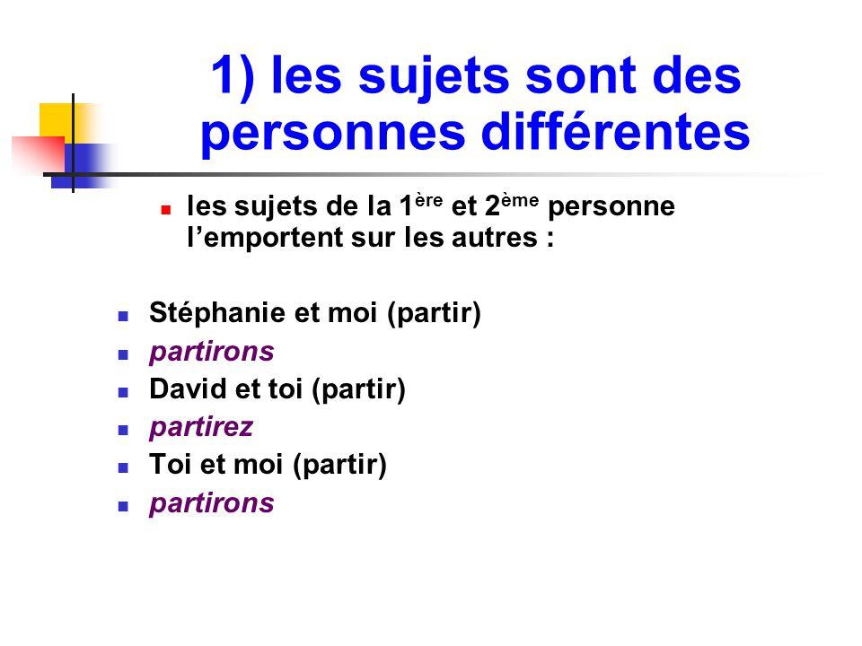 1) les sujets sont des personnes différentes