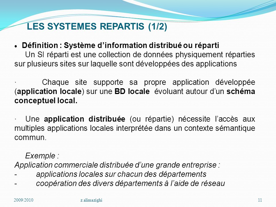 LES SYSTEMES REPARTIS (1/2)