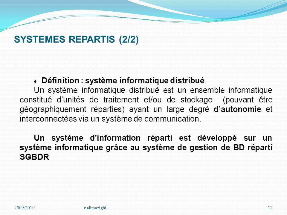 SYSTEMES REPARTIS (2/2) · Définition : système informatique distribué