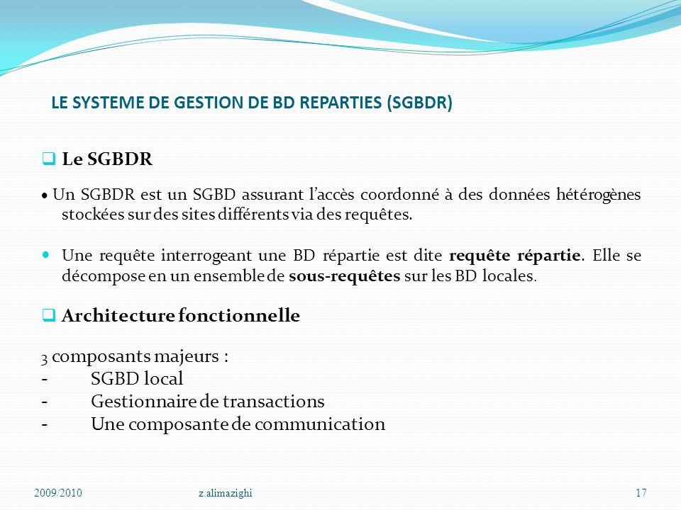 LE SYSTEME DE GESTION DE BD REPARTIES (SGBDR)