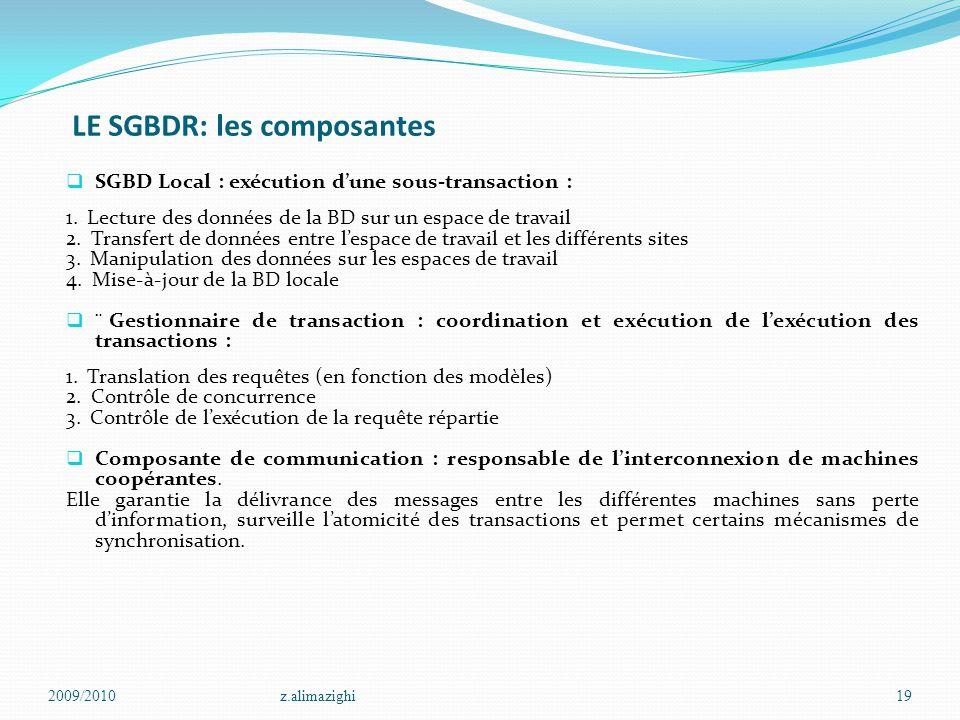 LE SGBDR: les composantes