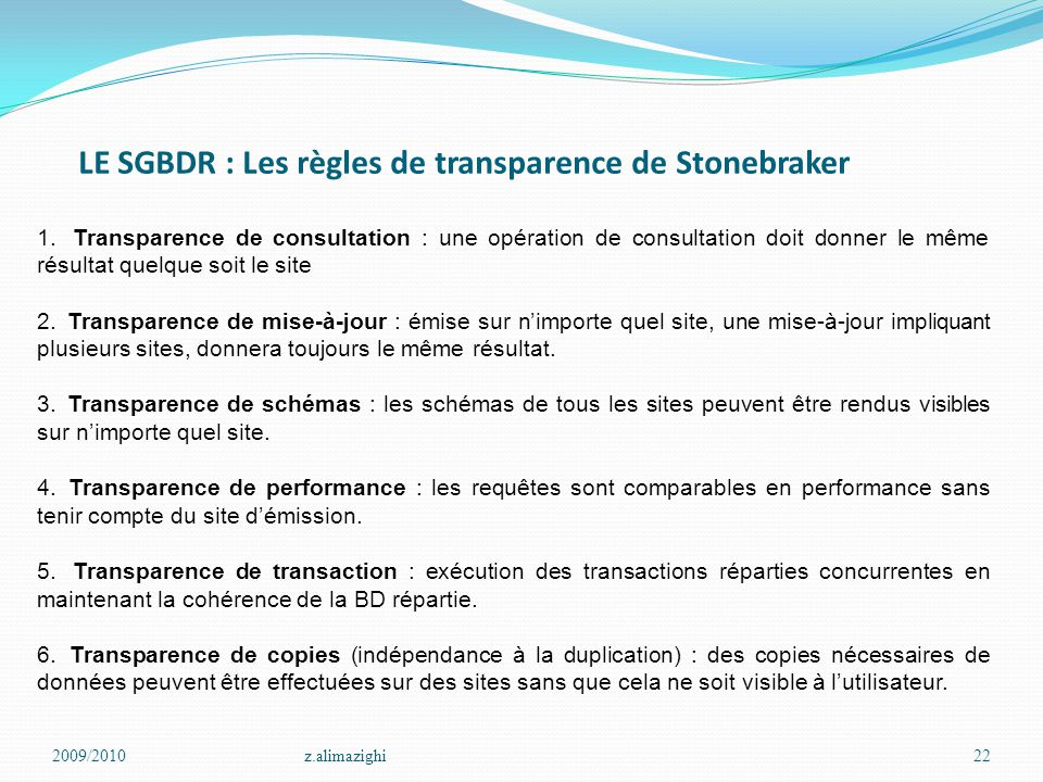 LE SGBDR : Les règles de transparence de Stonebraker