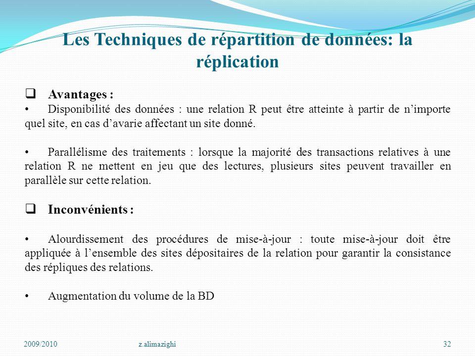 Les Techniques de répartition de données: la réplication