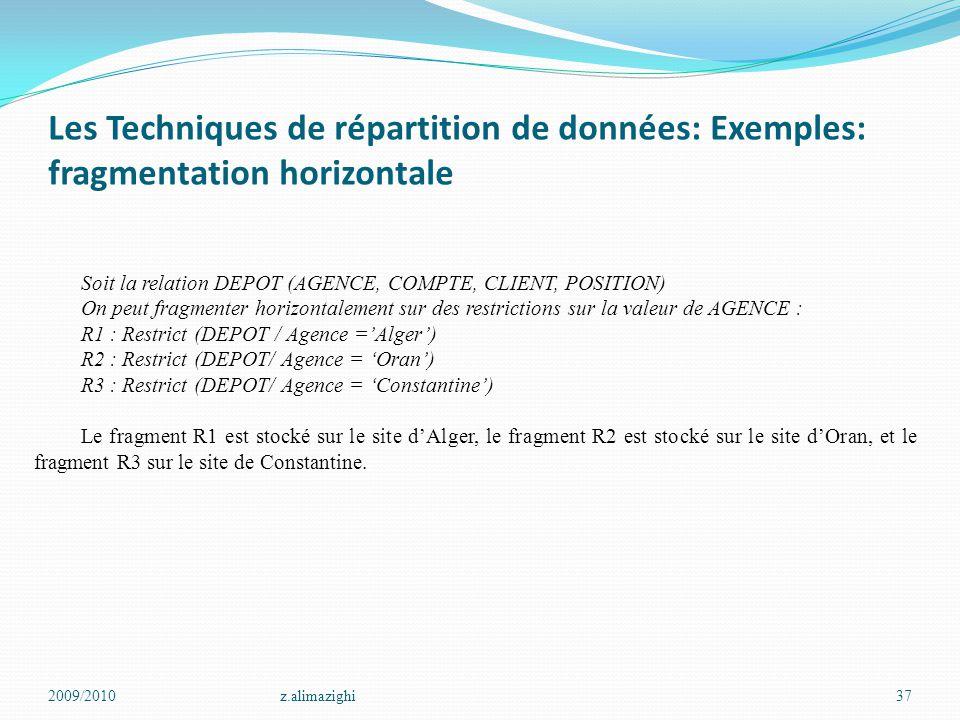 Les Techniques de répartition de données: Exemples: fragmentation horizontale