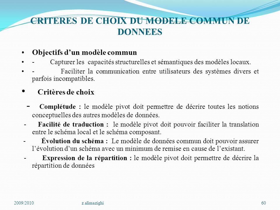 CRITERES DE CHOIX DU MODELE COMMUN DE DONNEES
