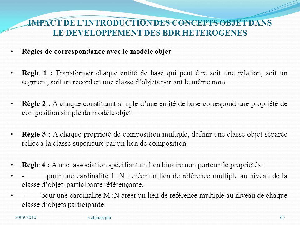 IMPACT DE L'INTRODUCTION DES CONCEPTS OBJET DANS LE DEVELOPPEMENT DES BDR HETEROGENES