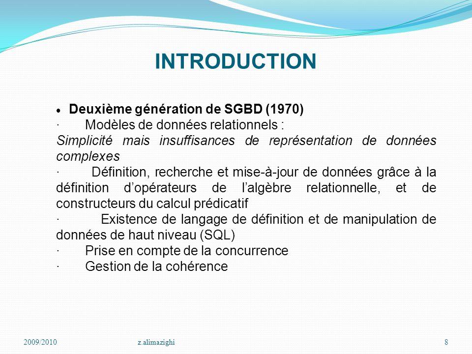 INTRODUCTION · Modèles de données relationnels :