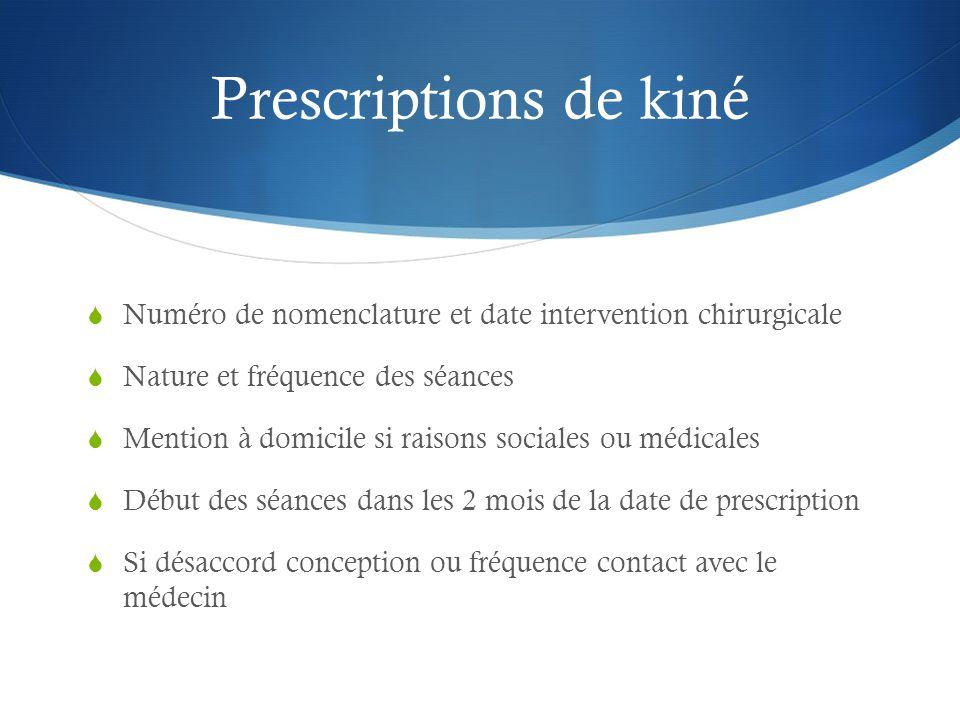 Prescriptions de kiné Numéro de nomenclature et date intervention chirurgicale. Nature et fréquence des séances.