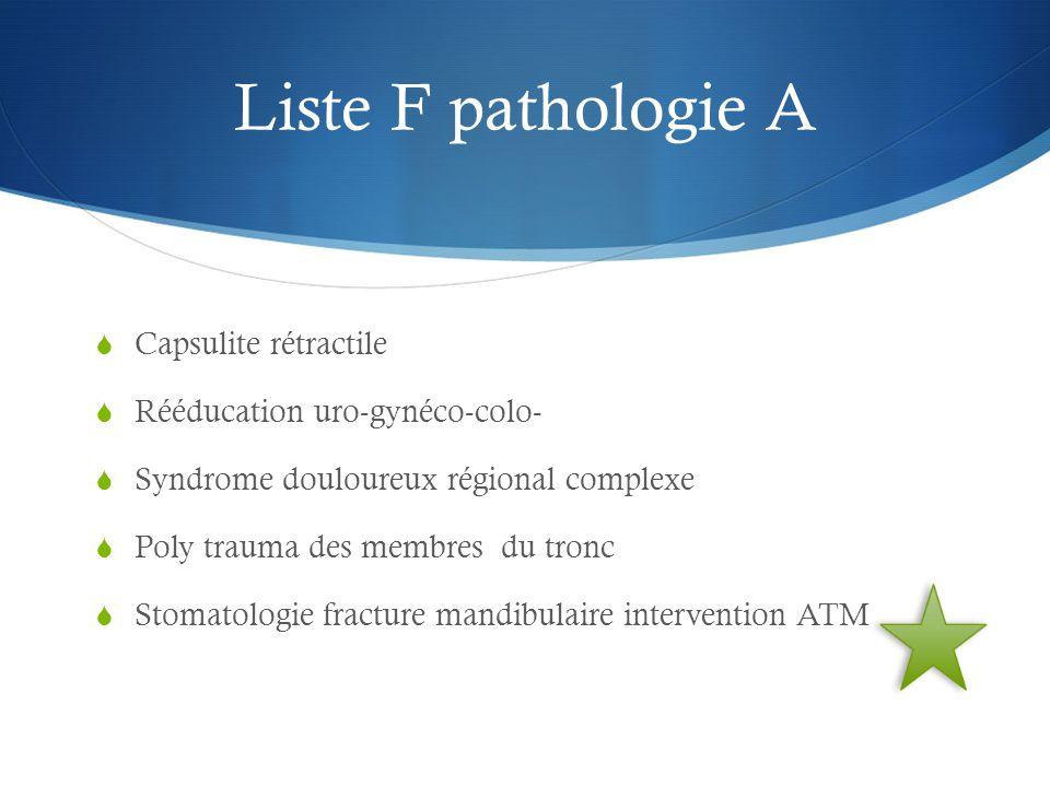 Liste F pathologie A Capsulite rétractile Rééducation uro-gynéco-colo-