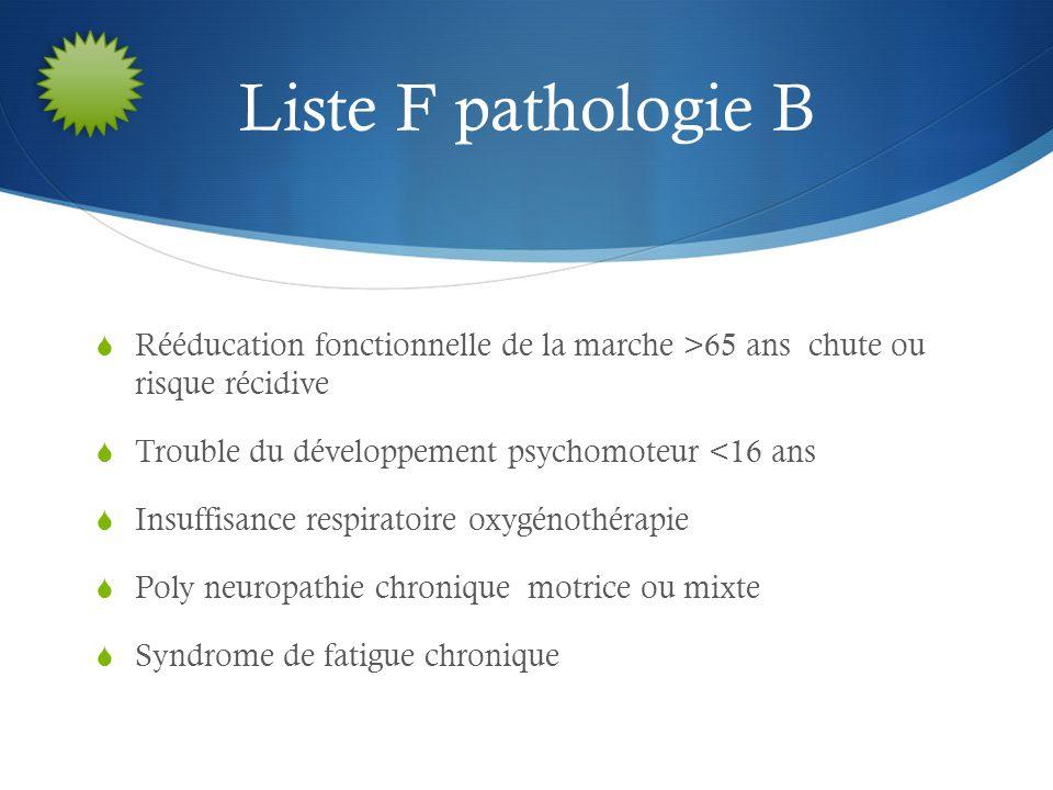 Liste F pathologie B Rééducation fonctionnelle de la marche >65 ans chute ou risque récidive. Trouble du développement psychomoteur <16 ans.