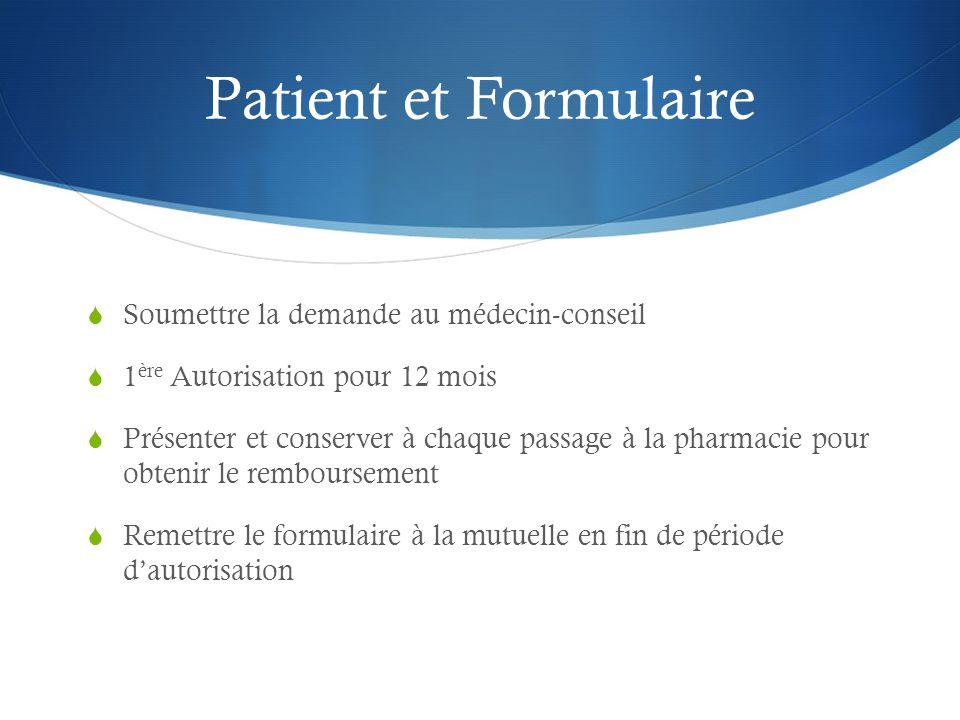 Patient et Formulaire Soumettre la demande au médecin-conseil