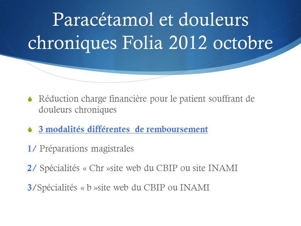 Paracétamol et douleurs chroniques Folia 2012 octobre