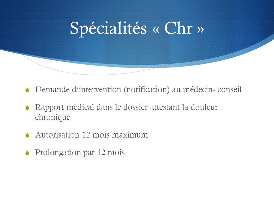 Spécialités « Chr » Demande d'intervention (notification) au médecin- conseil. Rapport médical dans le dossier attestant la douleur chronique.