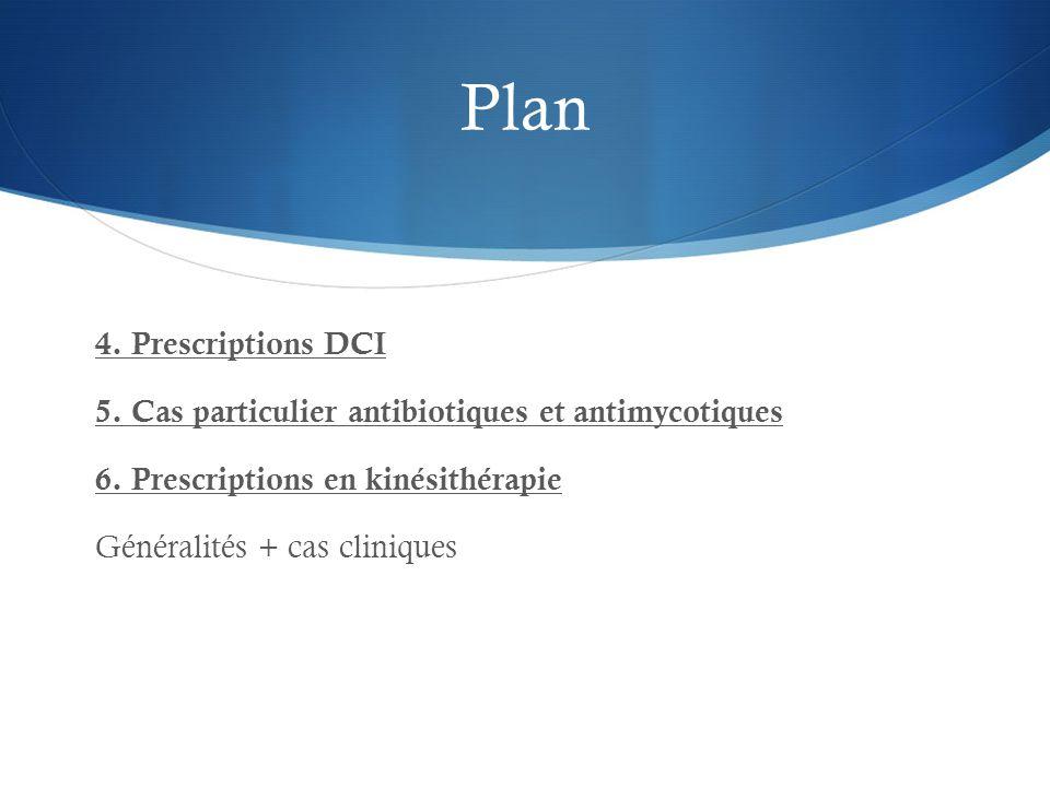Plan 4. Prescriptions DCI 5. Cas particulier antibiotiques et antimycotiques 6.