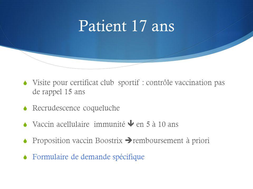 Patient 17 ans Visite pour certificat club sportif : contrôle vaccination pas de rappel 15 ans. Recrudescence coqueluche.