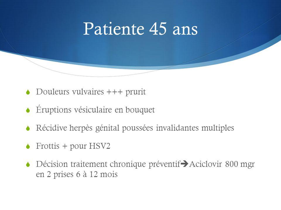 Patiente 45 ans Douleurs vulvaires +++ prurit