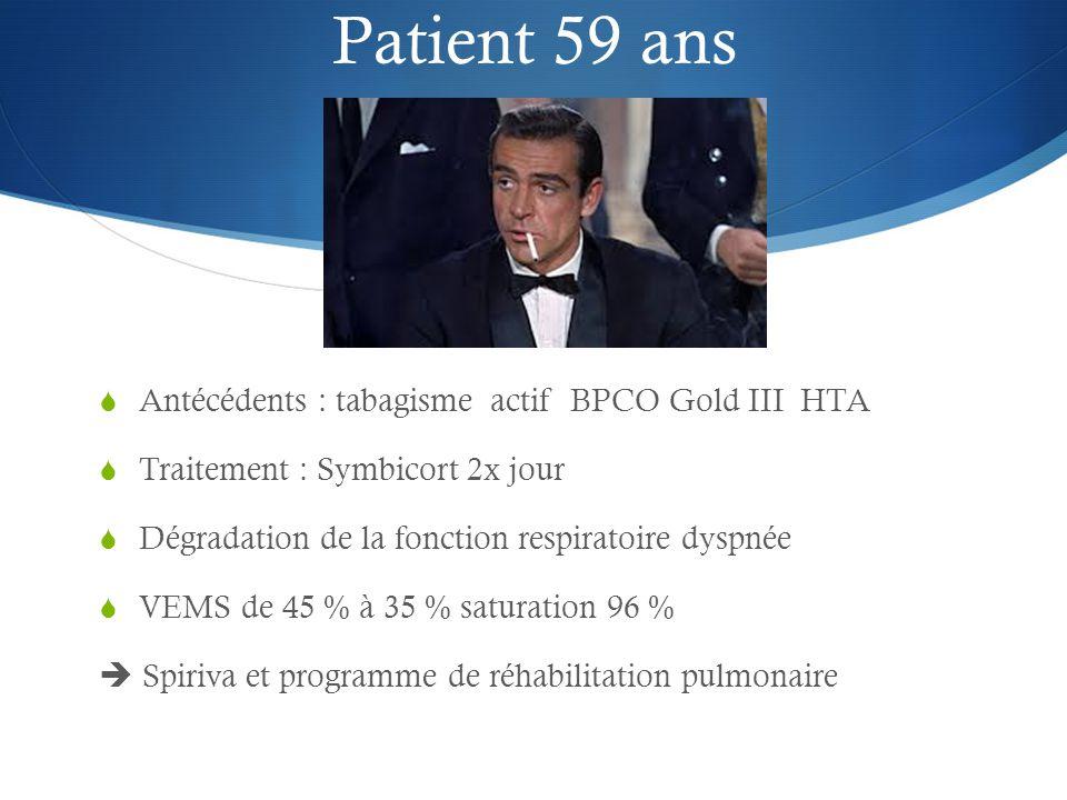 Patient 59 ans Antécédents : tabagisme actif BPCO Gold III HTA
