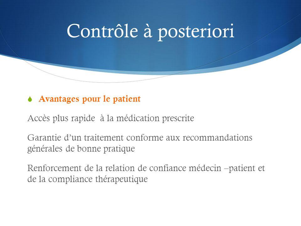 Contrôle à posteriori Avantages pour le patient