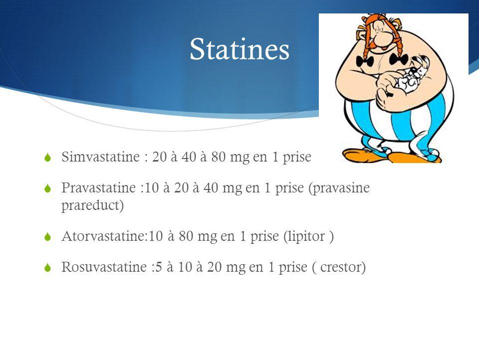 Statines Simvastatine : 20 à 40 à 80 mg en 1 prise