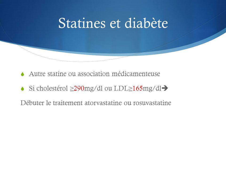 Statines et diabète Autre statine ou association médicamenteuse