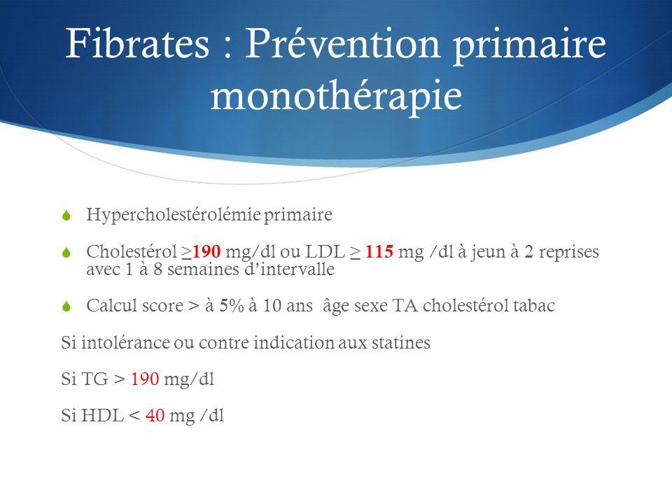 Fibrates : Prévention primaire monothérapie