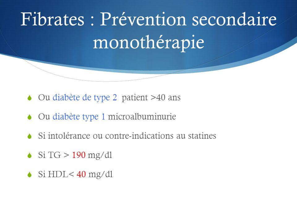 Fibrates : Prévention secondaire monothérapie