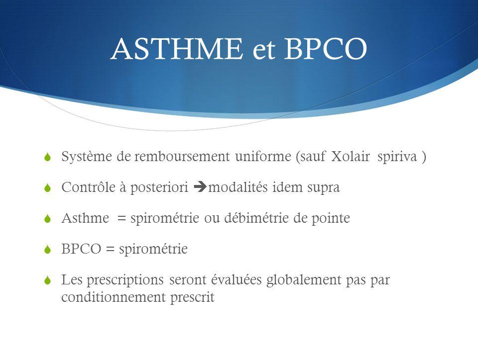 ASTHME et BPCO Système de remboursement uniforme (sauf Xolair spiriva ) Contrôle à posteriori modalités idem supra.