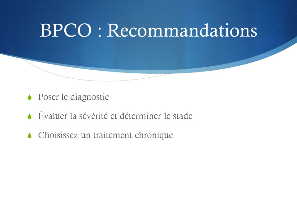 BPCO : Recommandations