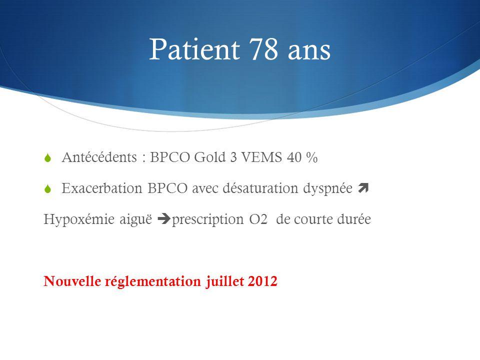 Patient 78 ans Antécédents : BPCO Gold 3 VEMS 40 %
