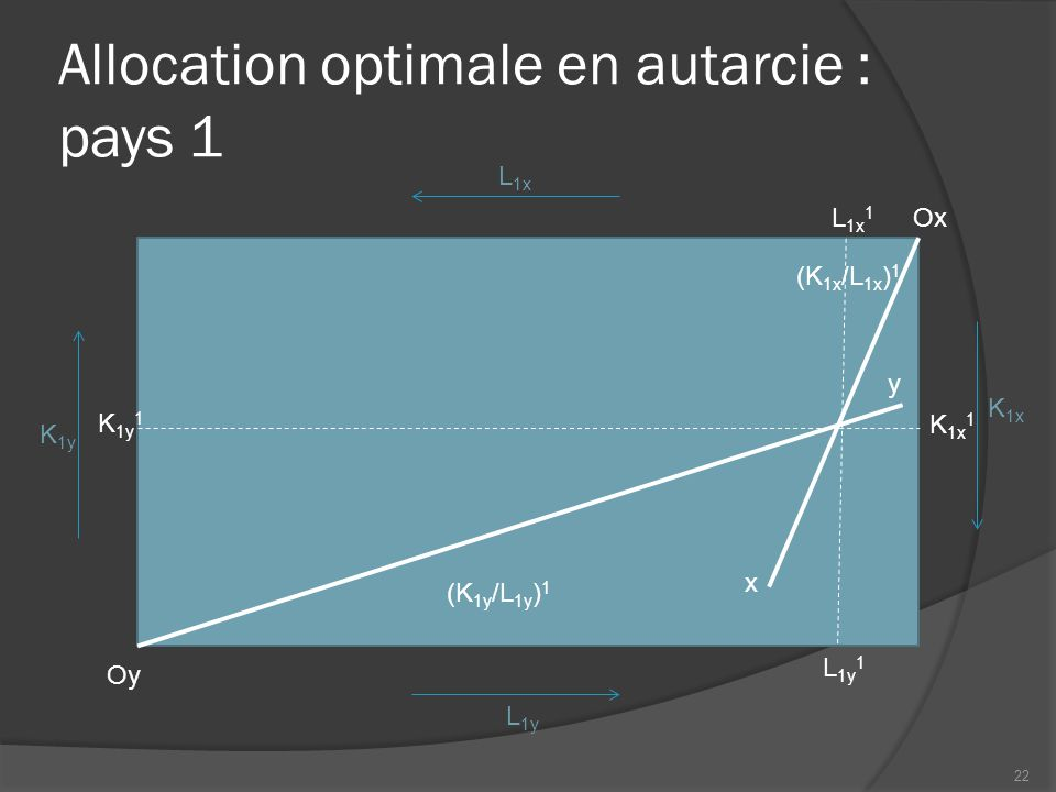 Allocation optimale en autarcie : pays 1
