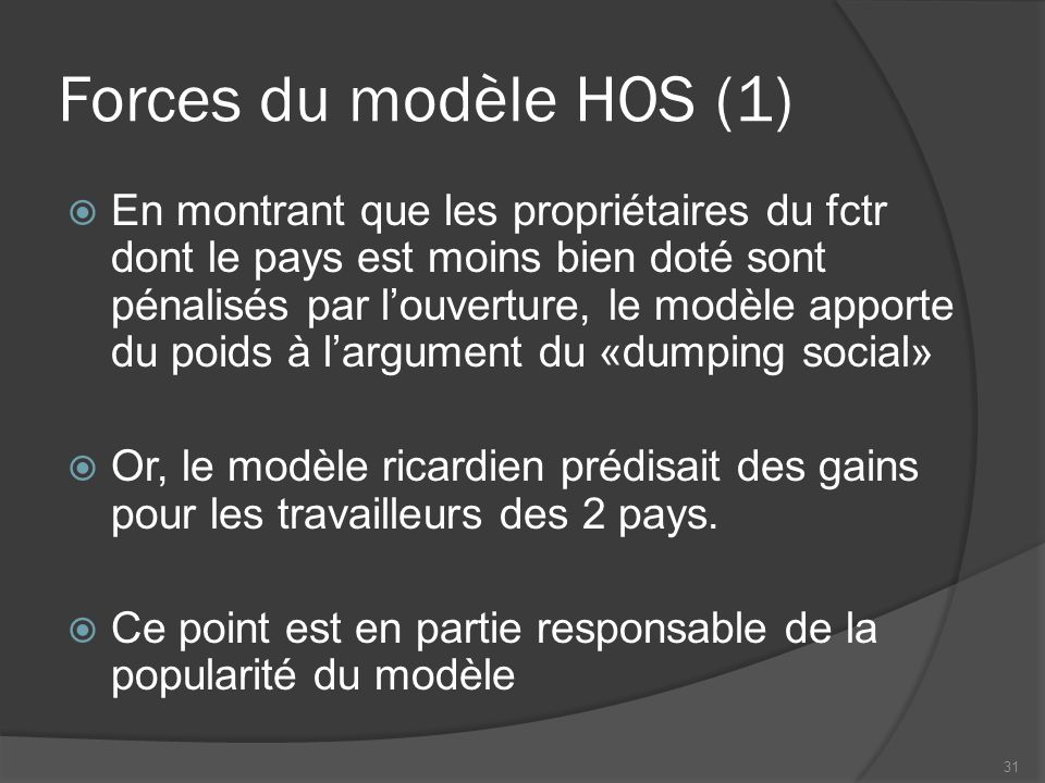Forces du modèle HOS (1)