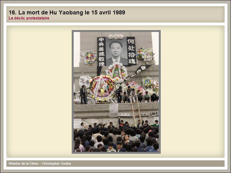 16. La mort de Hu Yaobang le 15 avril 1989 Le déclic protestataire