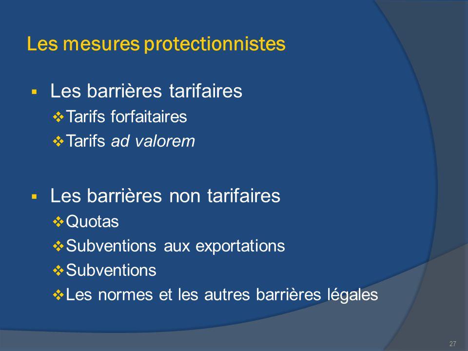 Les mesures protectionnistes