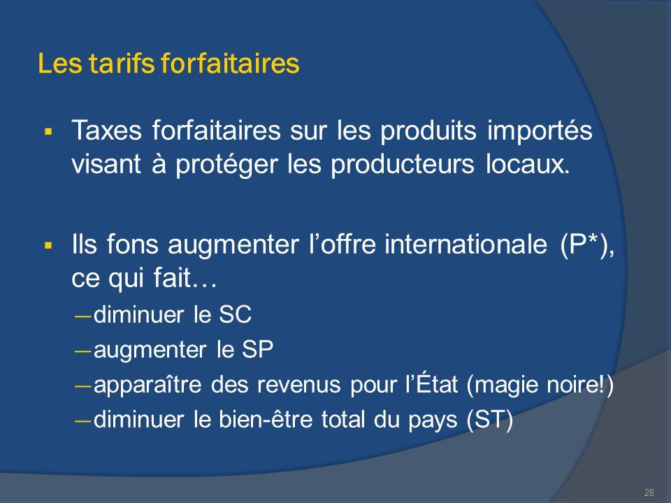 Les tarifs forfaitaires